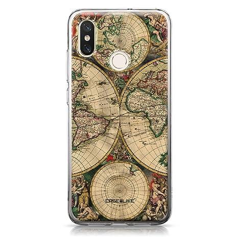 CASEiLIKE® Funda Mi 8, Carcasa Xiaomi Mi 8, Mapa del Mundo de la Vendimia 4607, TPU Gel Silicone Protectora Cover