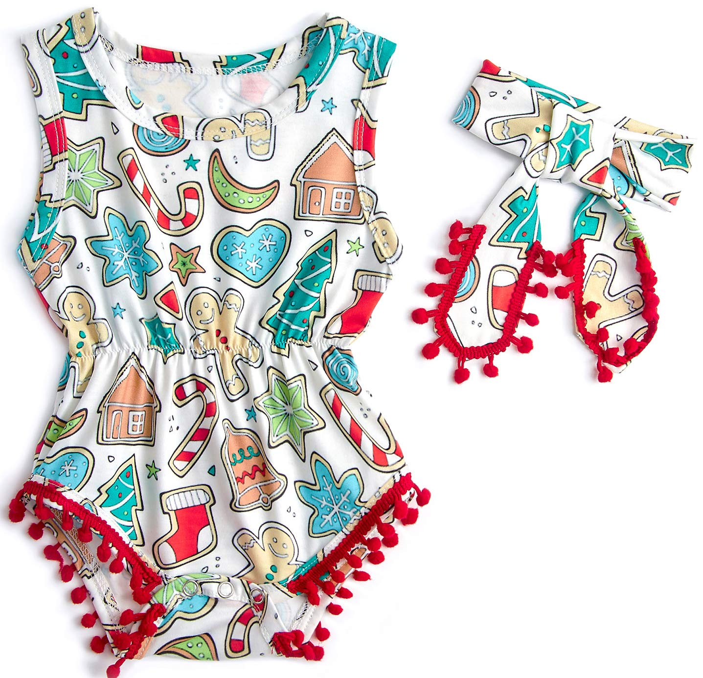 Belovecol Christmas Baby Girl Romper for Newborn Cute Graphic ...