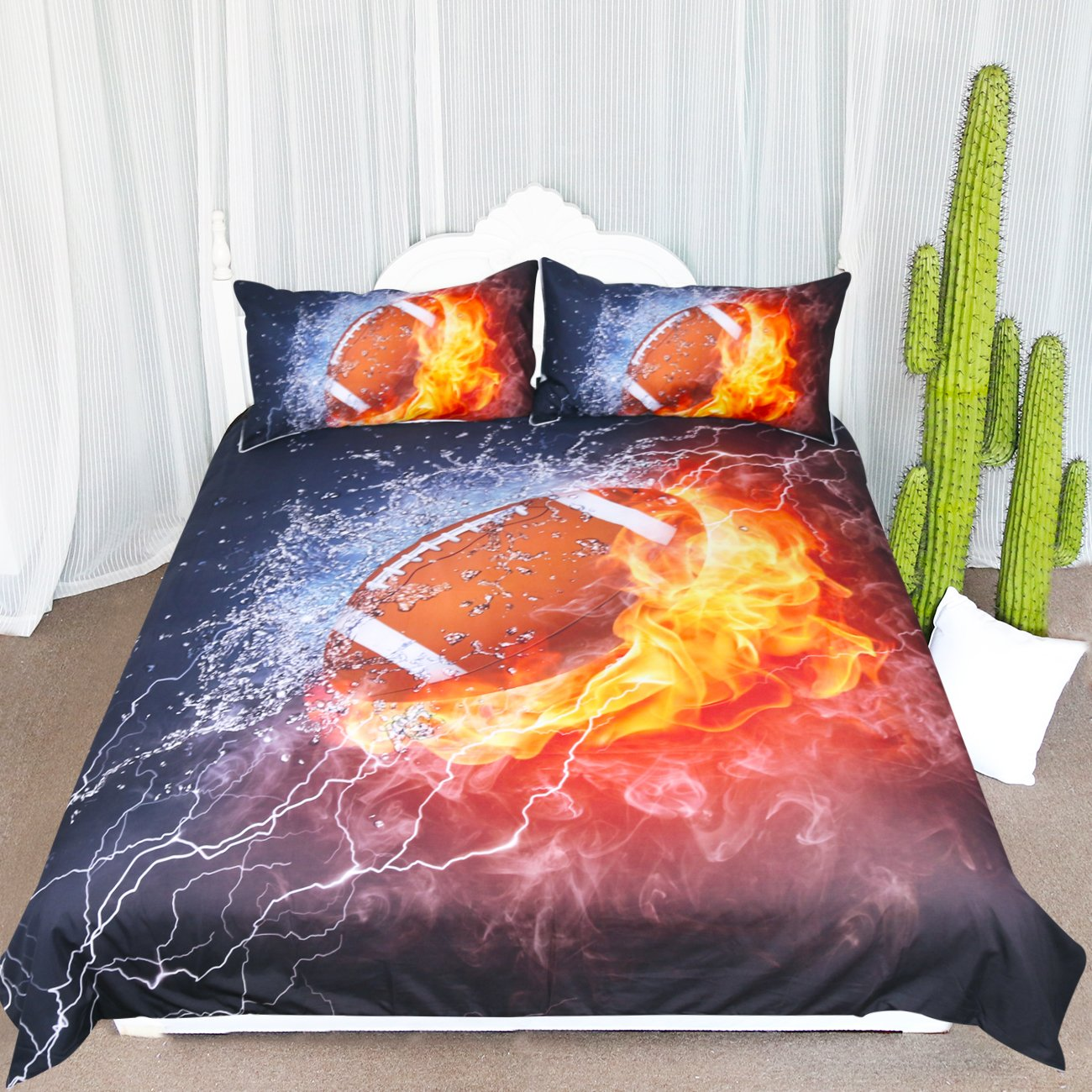 ARIGHTEX American Football Bedding Fire and Ice Brown Ball Flames Pattern Duvet Cover Sports Themed Bedding Dark Blue Orange Boys Duvet Cover (Twin)