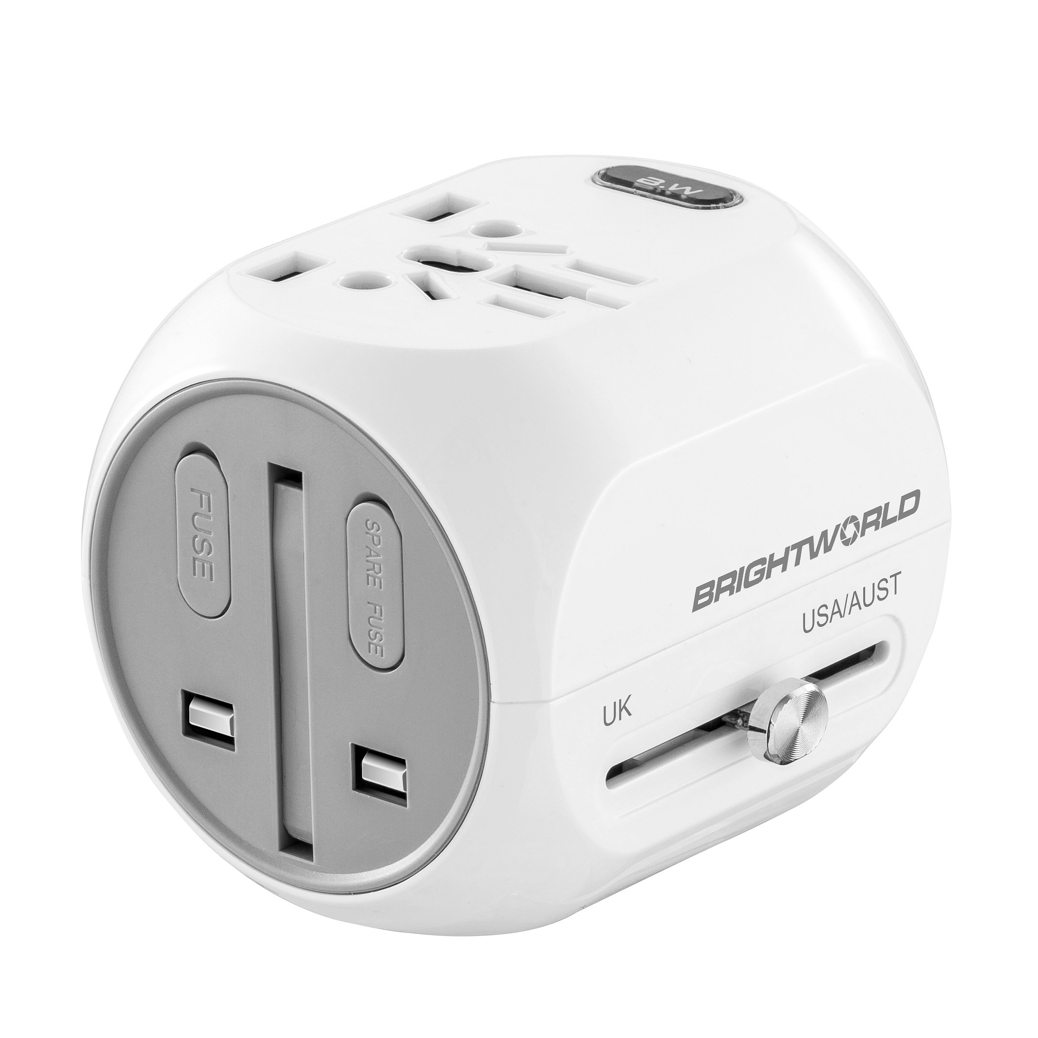 BRIGHTWORLD Travel Adapter, Worldwide All in One Universal Travel Adapter Kit and Power Plug Converter with USB and Type C Charging Port for Cell Phone Laptop Camera in USA UK Europe White