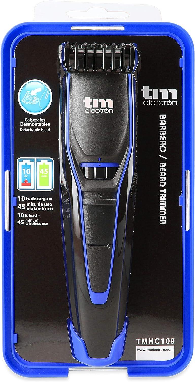 TM Electron TMHC109A - Barbero con Batería recargable de 600 Mah, 20 longitudes de Corte y cabezal Desmontable, acabado en Azul: Amazon.es: Salud y cuidado personal