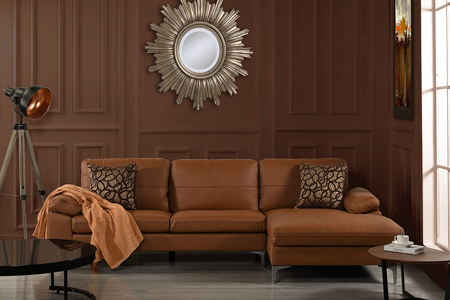 Amazon.com: Leather Sectional Sofa, L-Shape Couch with Chaise, 108.7 ...