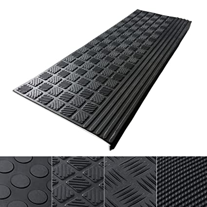 Indoor U0026 Outdoor Bullnose Rubber Non Slip Stair Treads, 26u0026quot; X 9u0026quot;