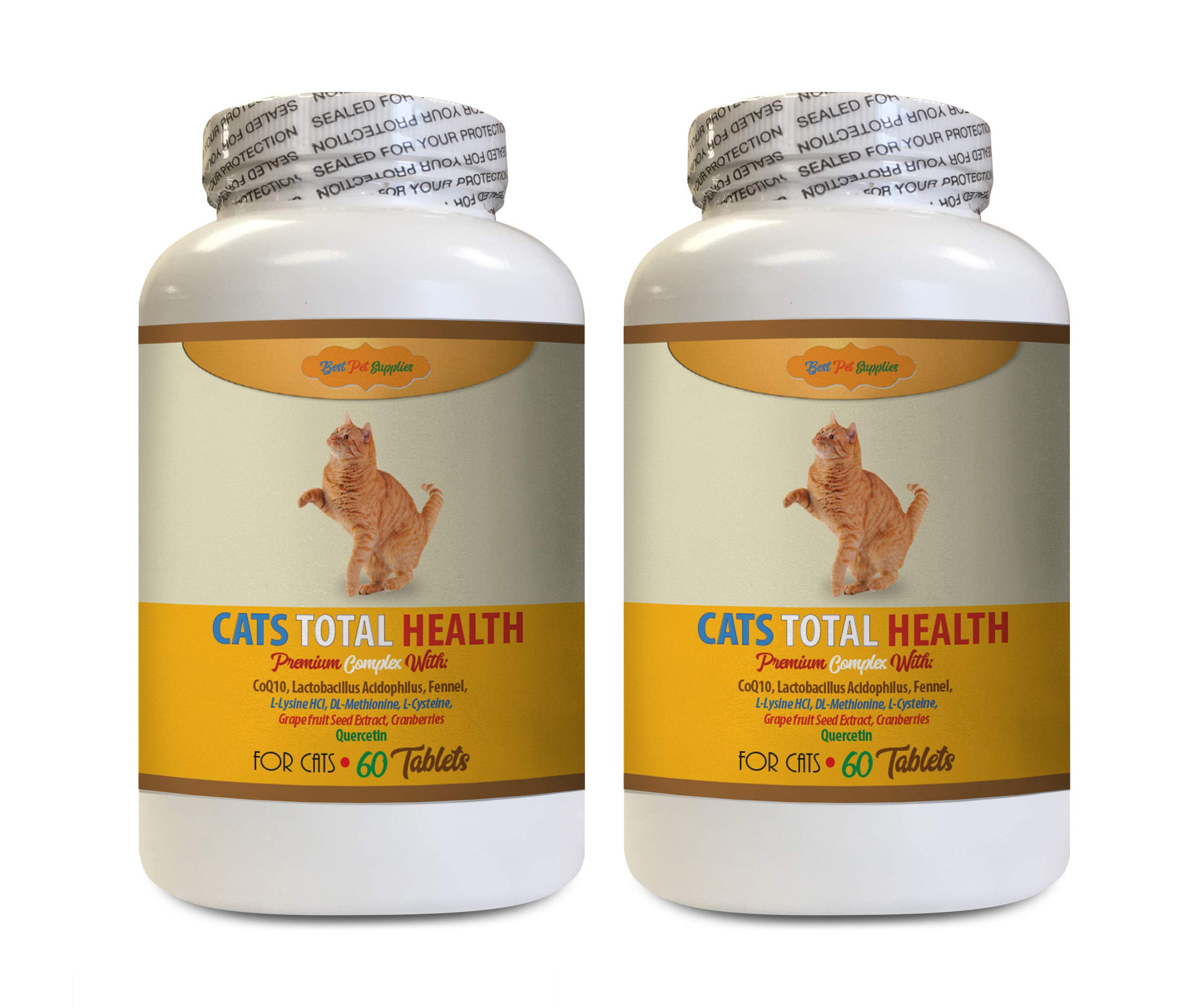BEST PET SUPPLIES LLC cat Itchy Skin - Cats Total Health Complex - Premium Formula - Coat Joint Oral Eye Immune Health - cat Immune Booster Treats - 120 Tables (2 Bottles) by BEST PET SUPPLIES LLC