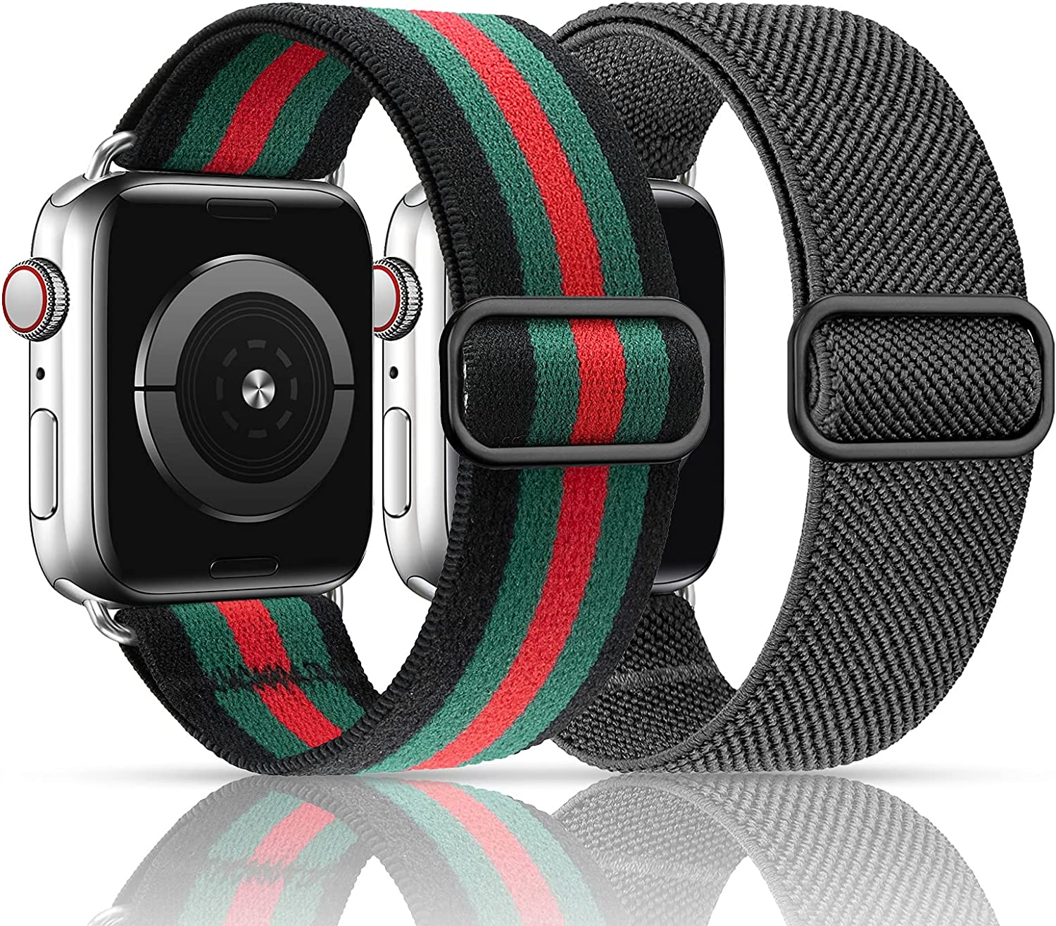 MEULOT Stretchy Nylon Solo Loop Band Compatible with Apple Watch Band 42mm 44mm 2-Pack Adjustable Braided Sport Women Men iWatch Series 6/5/4/3/2/1 SE Grey/Black Green Stripe 42/44