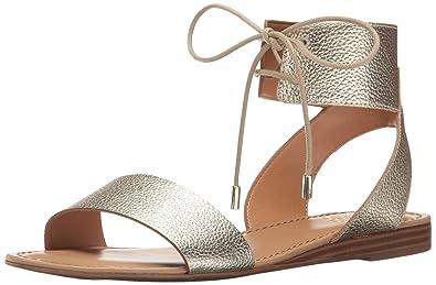 Franco Sarto Women's L-Glenys Flat Sandal, Light Gold, 10 Medium US