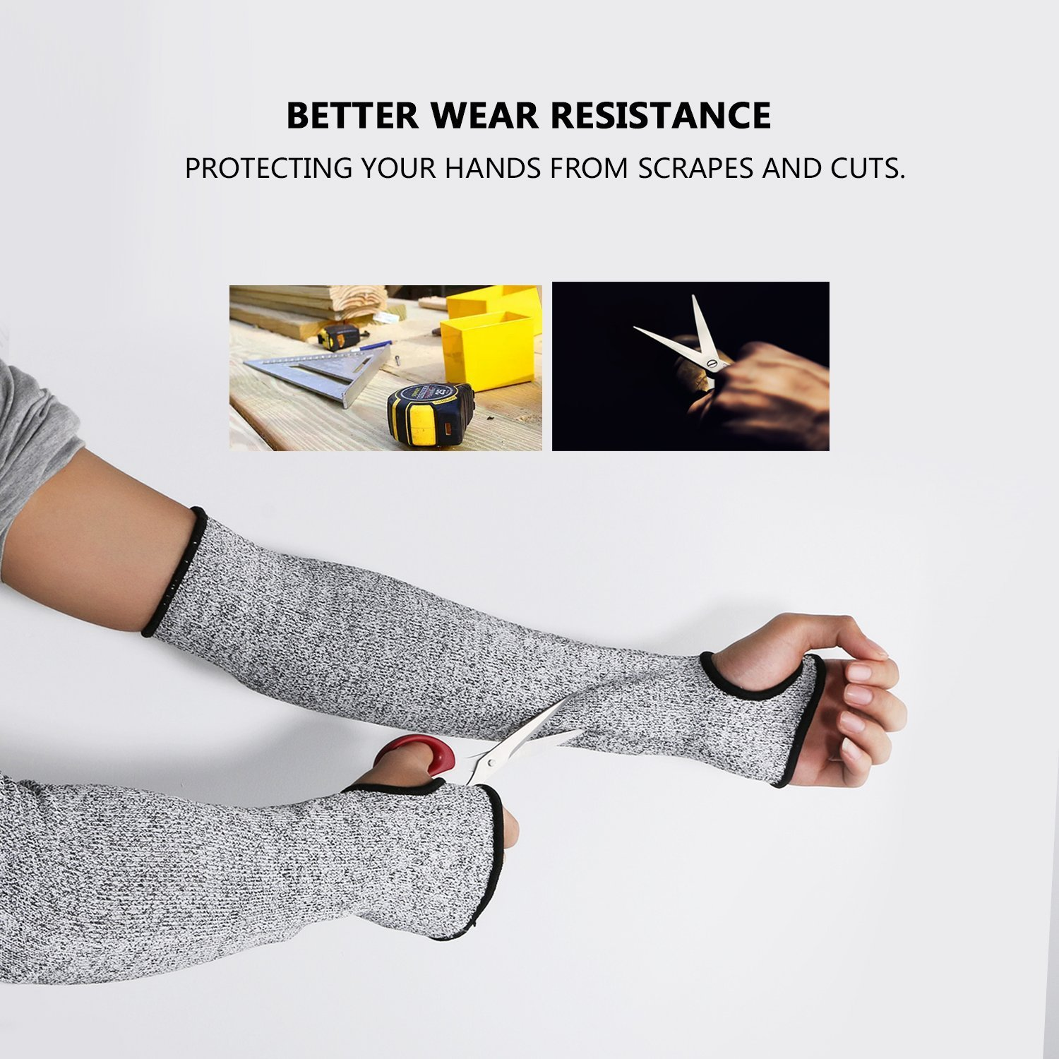Cut Resistant Sleeves with Thumb Hole, Level 5 Protection, Slash Resistant Safety Protective Arm Sleeves, 14 inch long, Large (Arm width 4-8 inch) sold by Pair(2 Pieces) by G & F Products (Image #9)