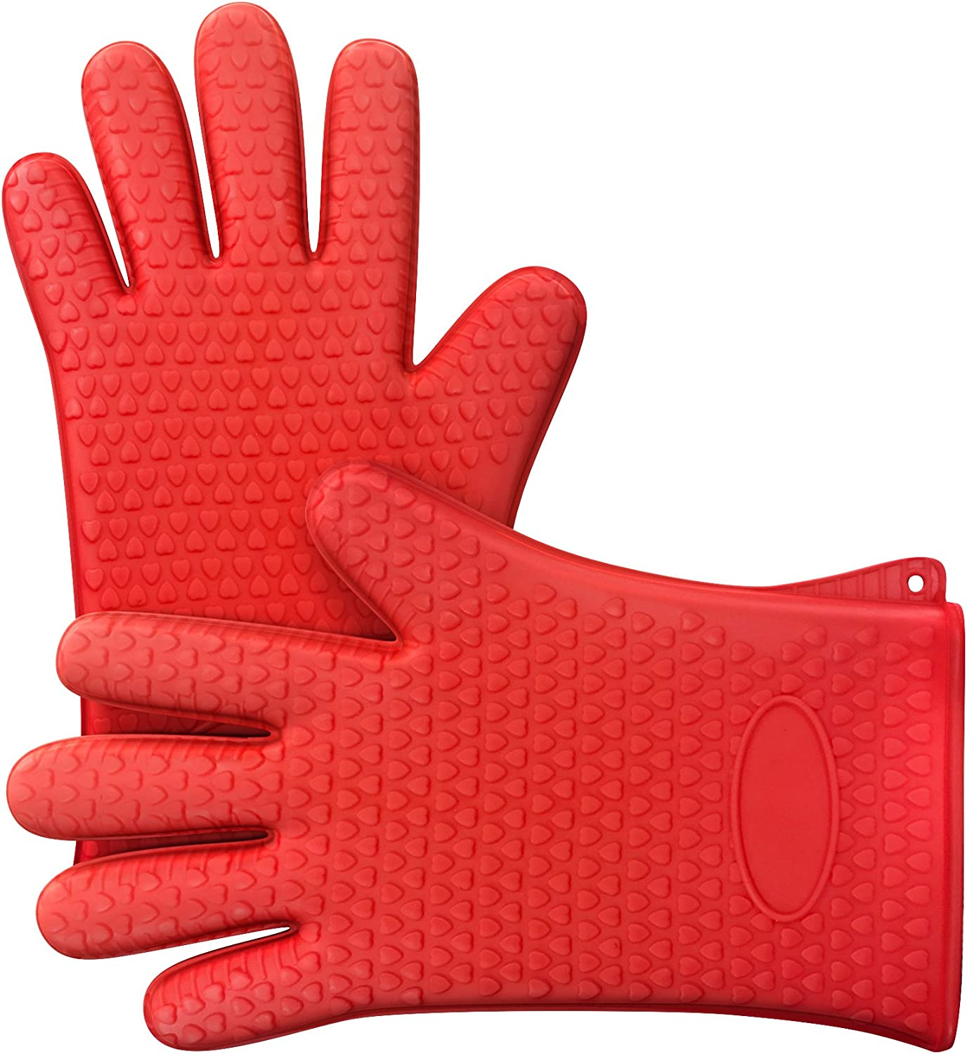 Silicone Oven Gloves- Safe Nonslip Grip Heat Resistant Pair of Mitts/Potholders for Grilling, Barbecue, Baking, Cooking and More by Chef Buddy (Red)