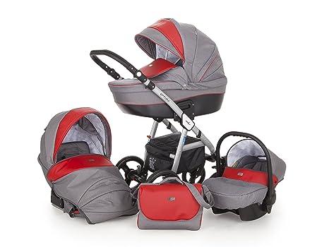 Lux4kids Cochecito 3 in 1 Trio Silla de paseo + capazo + silla para coche +