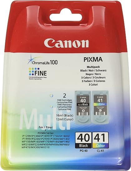 Canon PG-40+CL-41 Cartuchos de tinta original BK+Tricolor para Impresora de Inyeccion de tinta Pixma MP140,150,160,170,180,190,210,220,450,450x,460,470-iP1200,1300,1600,1700,1800,1900,2200,2500,2600: Canon: Amazon.es: Oficina y papelería