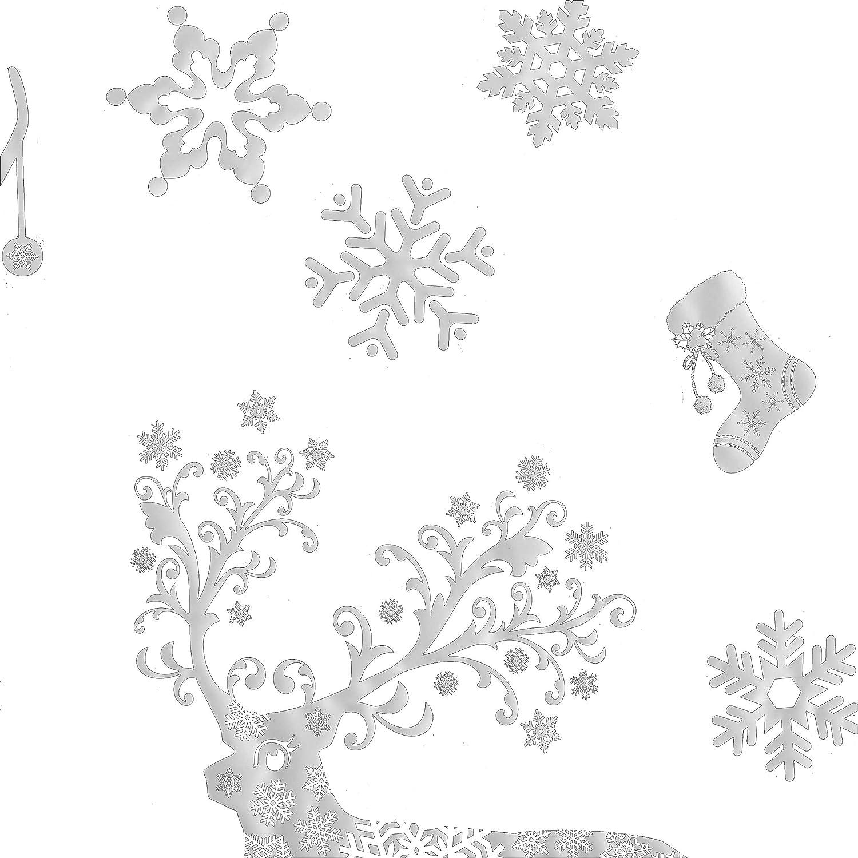 Asvert Autocollant de Fen/être Images de Fen/être D/écoration de Vitrine de No/ël 8