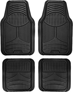 FH Group F11313 Monster Eye Full Set Rubber Floor Mats, Solid Black Color- Fit Most Car, Truck, SUV, or Van