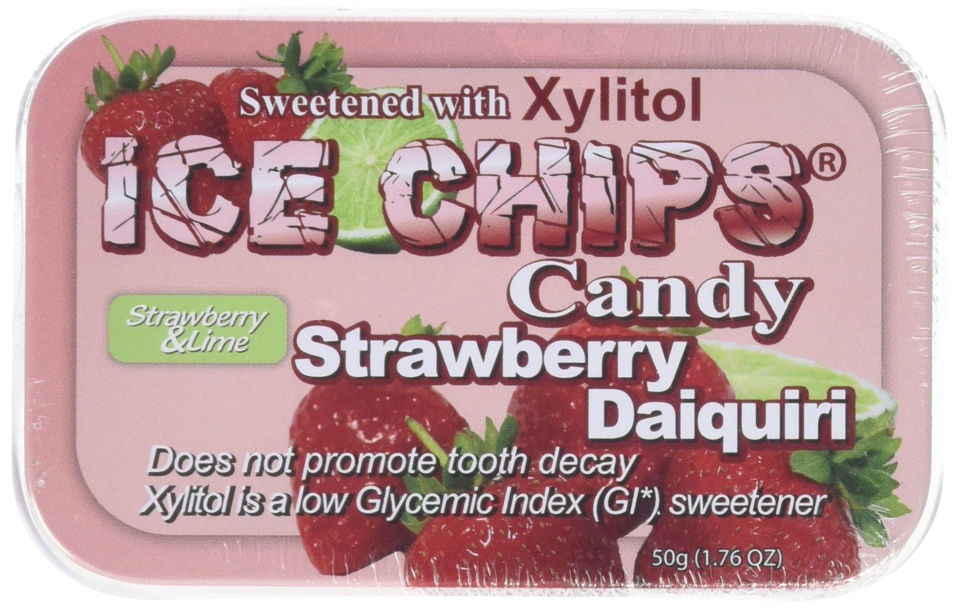 ICE CHIPS Strawberry Daiquiri Xylitol Mints 6 Single Tins