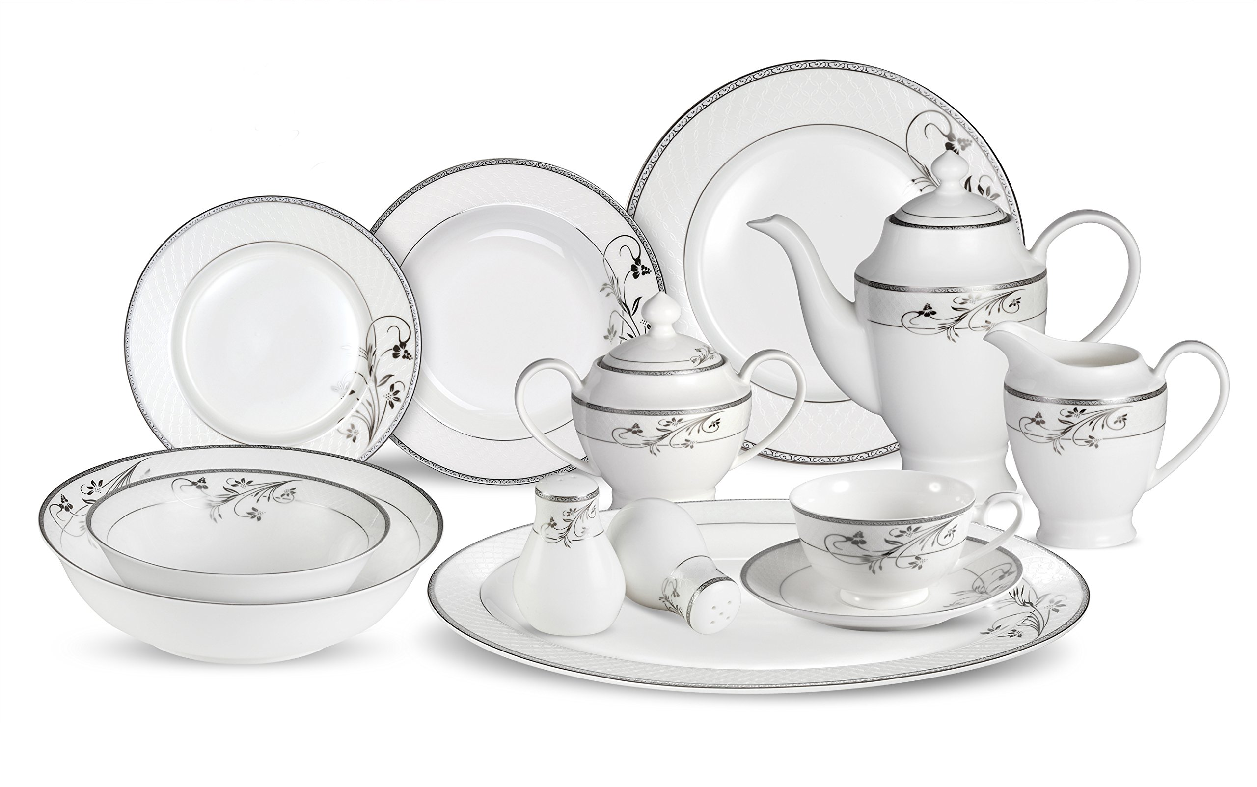 Lorenzo 57 Piece Elegant Bone China Service for 8 Viola Dinnerware Sets, Silver - 6 Piece Place Setting Translucent Bone China Includes Serving Pieces - kitchen-tabletop, kitchen-dining-room, dinnerware-sets - 81Mc5zq9XrL -