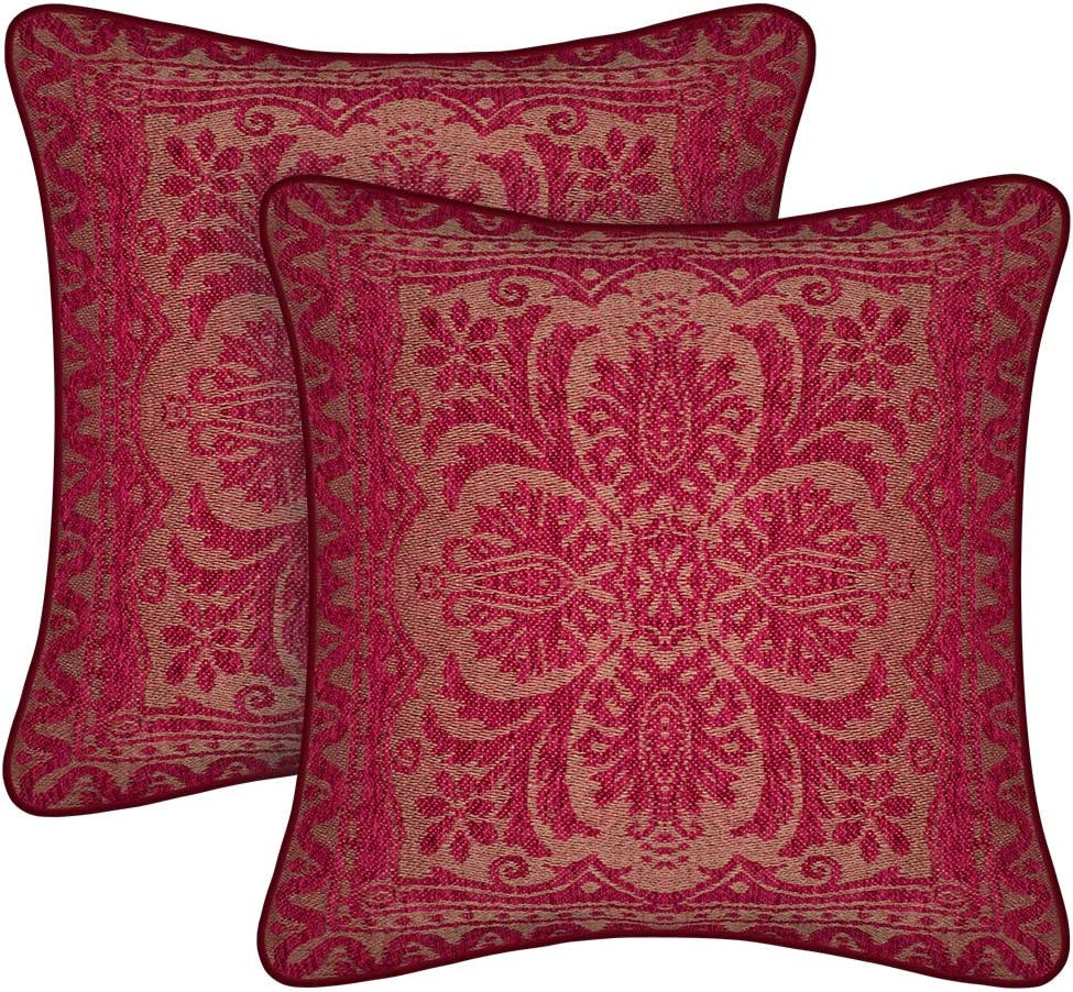 amorus Boho Throw Pillow Covers Set of 2, Decorative Sofa Cushion Cover, Chenille Couch Pillowcase for Living Room Bedroom 18x18 inches