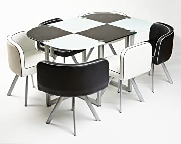 Ukcoffeetables Modern Miami Dining Table 6 Chairs Black White