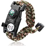 Survival Bracelet, EZ Turbo 20 in 1 Survival Paracord Bracelet, Survival Gear Kit with SOS LED Light, Emergency Knife, Whistle, Compass, Fire Starter for Camping, Climbing, Waterproof