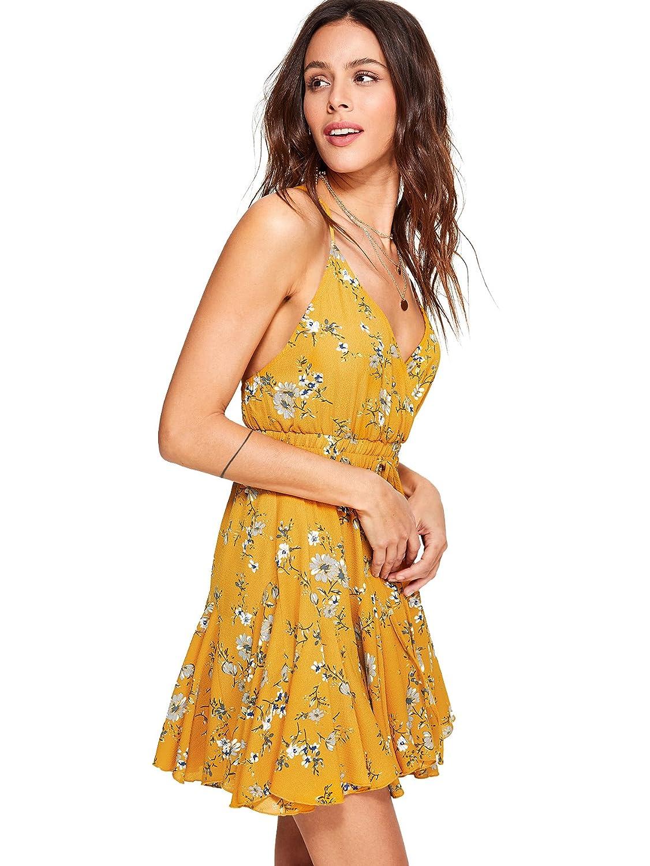 2641aa65ec3 Romwe Women s Flower V Neck Sleeveless Mini Dress Elastic High Waist A Line  Dress Knot Back Wrap Floral Cami Dress at Amazon Women s Clothing store