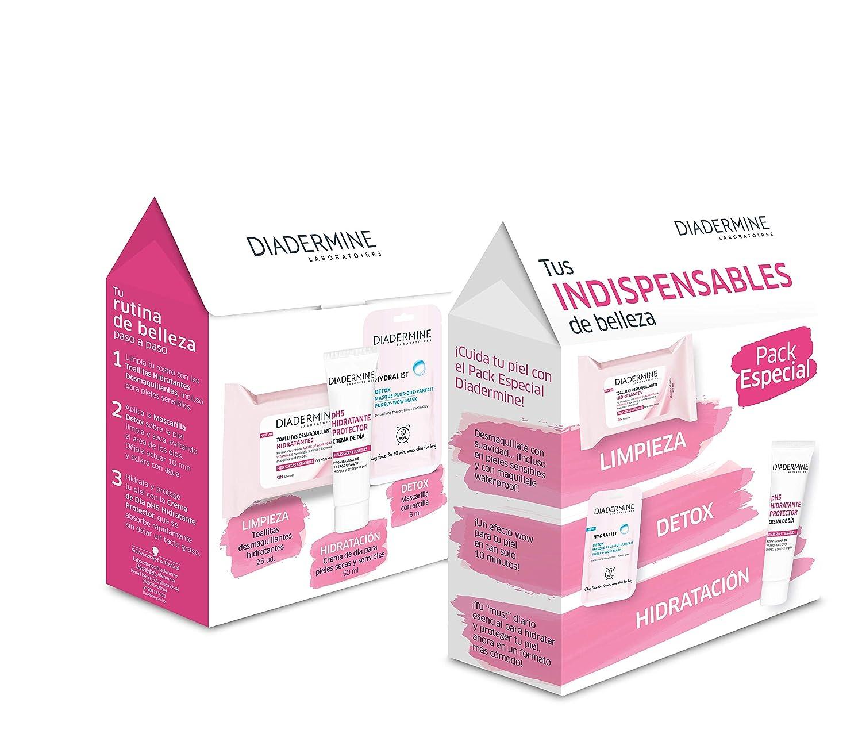 Diadermine - Pack Essentials - Toallitas Hidratantes + Mascarilla Detox + Crema de Día Hidratante - 50 ml