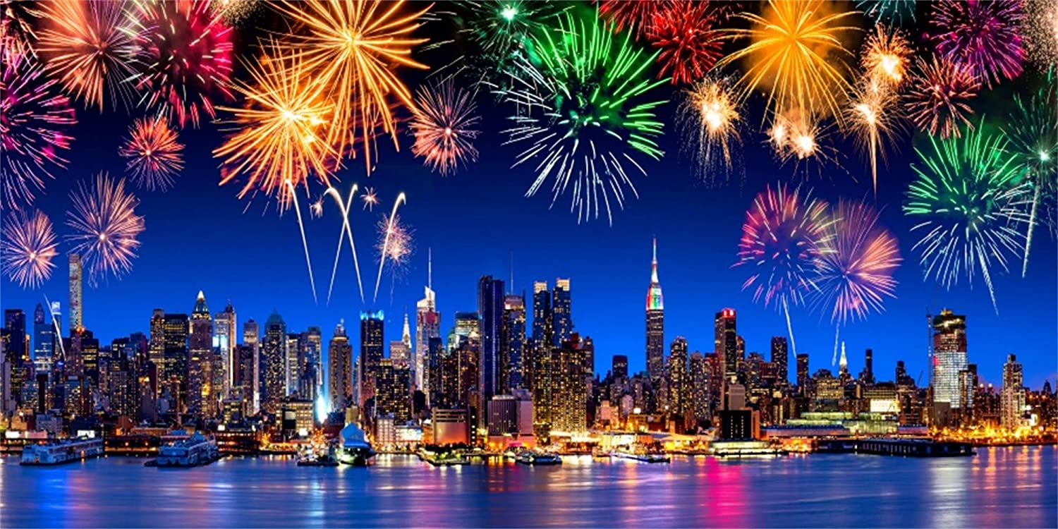Leowefowa 12x8ft Happy New Year 2020 Backdrop for Photography Vinyl Splendid Sparkling Colorful Fireworks Tranquil Nightsky Background New Year Party Banner Family Gathering Child Adult Shoot