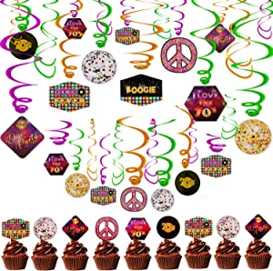 70s Disco Party Decorations Hanging Swirls Cake Cupcake Toppers Lets Boogie 1970s Throwback Party 70'S Night Fever Party Supplies Music Dance Birthday Party Decor