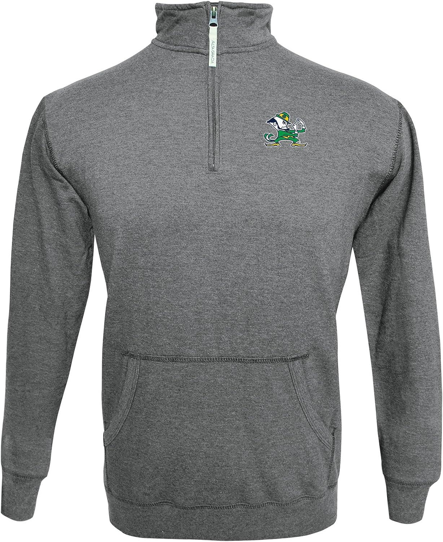 Medium Gray//Ash Alta Gracia NCAA Notre Dame Fighting Irish Mens 1//4 Zip 50//50 Fleece Top