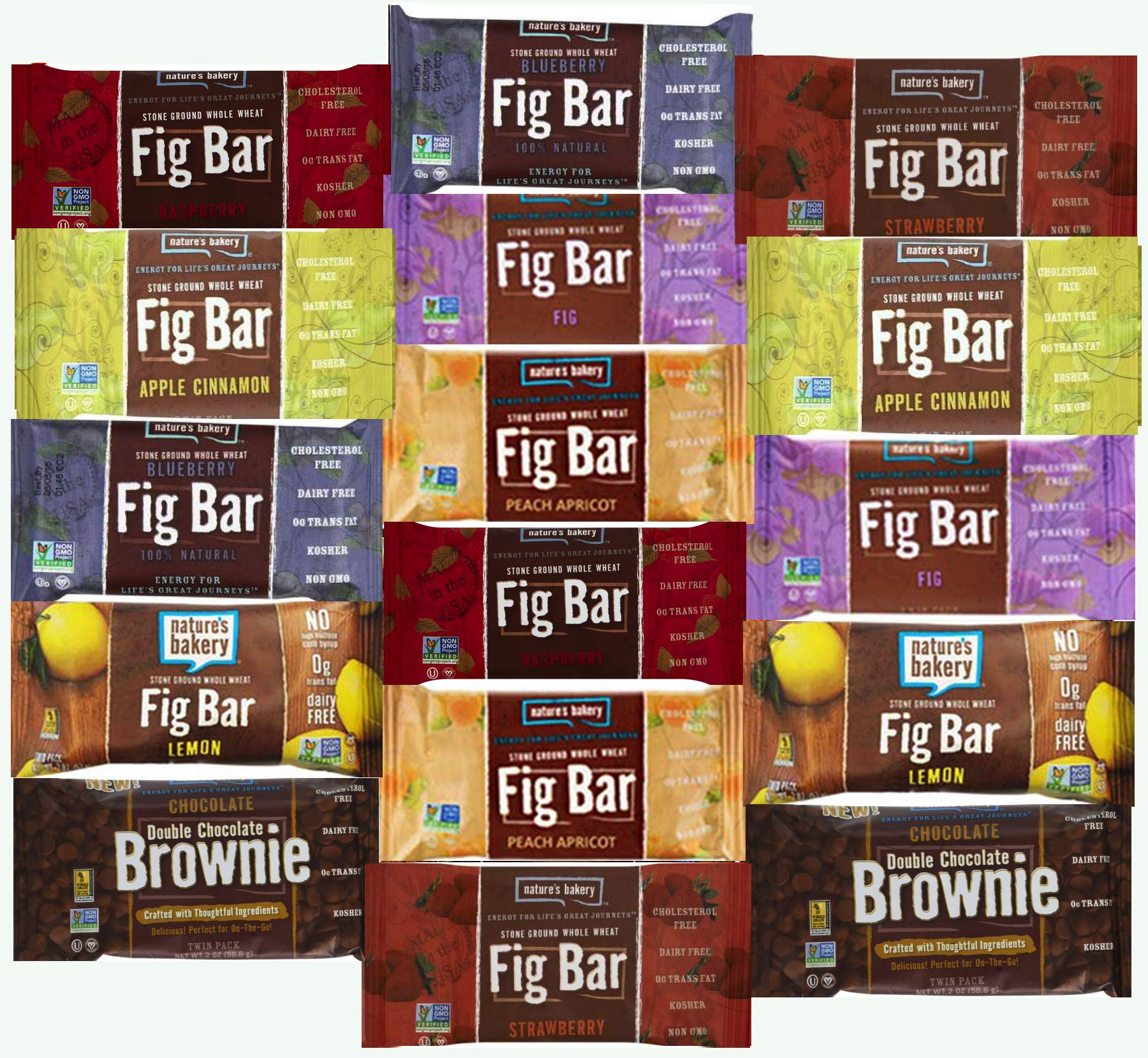 Nature's Bakery Stone Ground Whole Wheat Fig Bar (16 COUNT) Variety Pack Sampler, All Natural NON GMO Snack Food (16 Count) by LA Signature (Image #2)