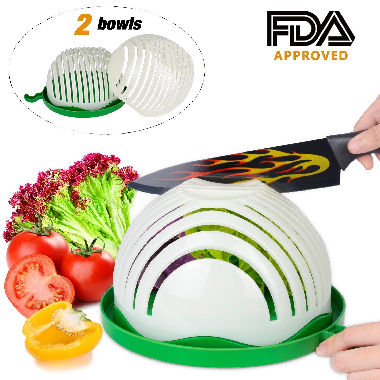 Salad Cutter Bowl,ESEOE Upgraded Vegetable Cutter Bowl for Salad in 60 Seconds ,Best Vegetable Chopper Salad Maker(8 Inches)
