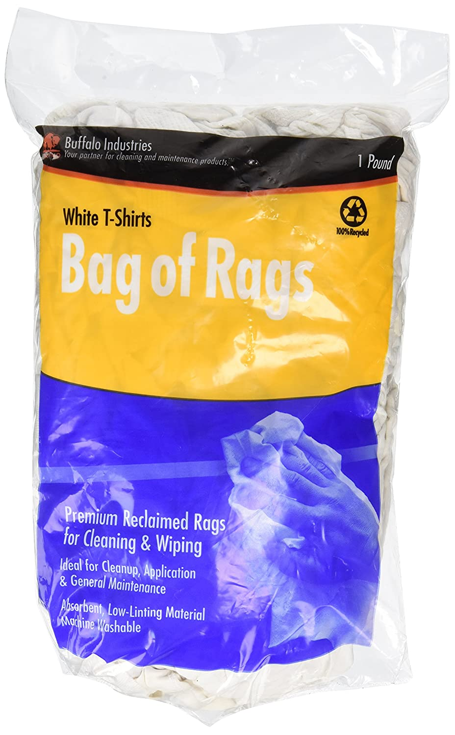 Buffalo Industries White Recycled T-Shirt Cloth Rags-50-Pounds Box 10525