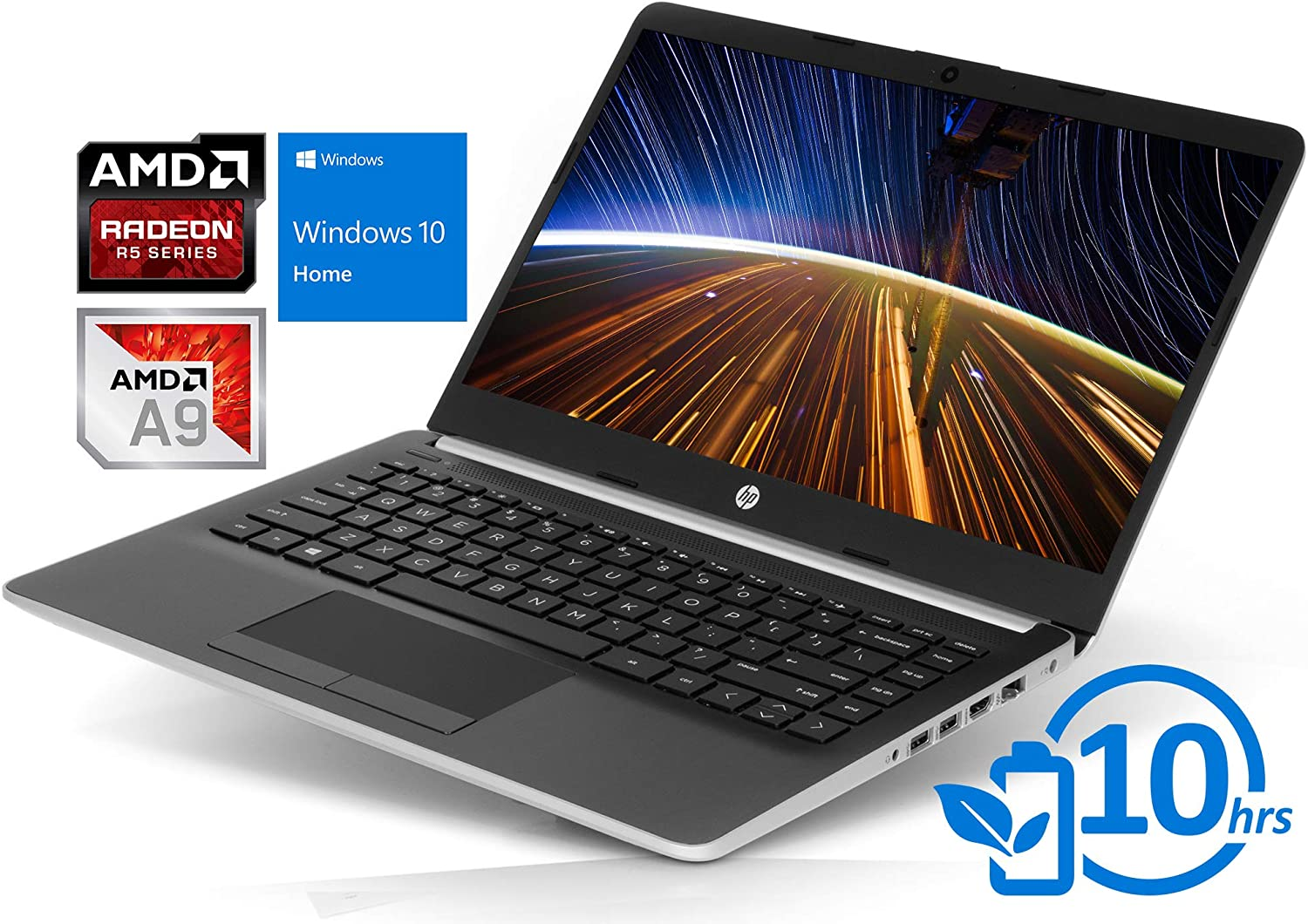 "HP 14 (14-dk0002dx) Laptop, 14"" HD Display, AMD A9-9425 Upto 3.7GHz, 4GB RAM, 128GB NVMe SSD, HDMI, Card Reader, Wi-Fi, Bluetooth, Windows 10 Home S"