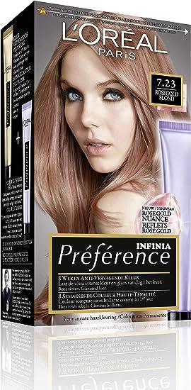 LOréal Paris Préférence PREF FR/NL 7.23 RICH ROSE coloración del cabello Rosa - Coloración del cabello (Rosa, Rosegold Blond, 65 mm, 93 mm, 172 mm, ...