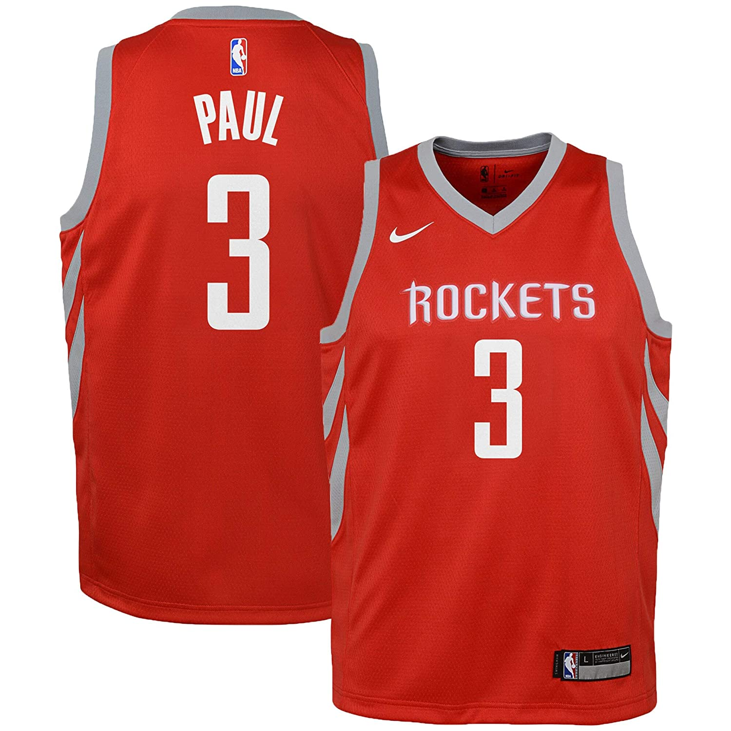 Nike Chris Paul Houston Rockets NBA Youth 8-20 Red Road Icon Edition Swingman Jersey