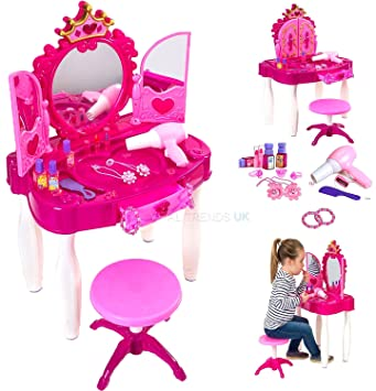 Large Girls Glamour Mirror Dressing Table Mirror Play Set Kids Makeup Game  By TK
