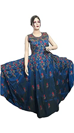 fa8fea2941 Vastra Lifestyle Women Latest Gown Style Cerulean Blue Color Paper Silk  Embroidered Party wear Traditional wear