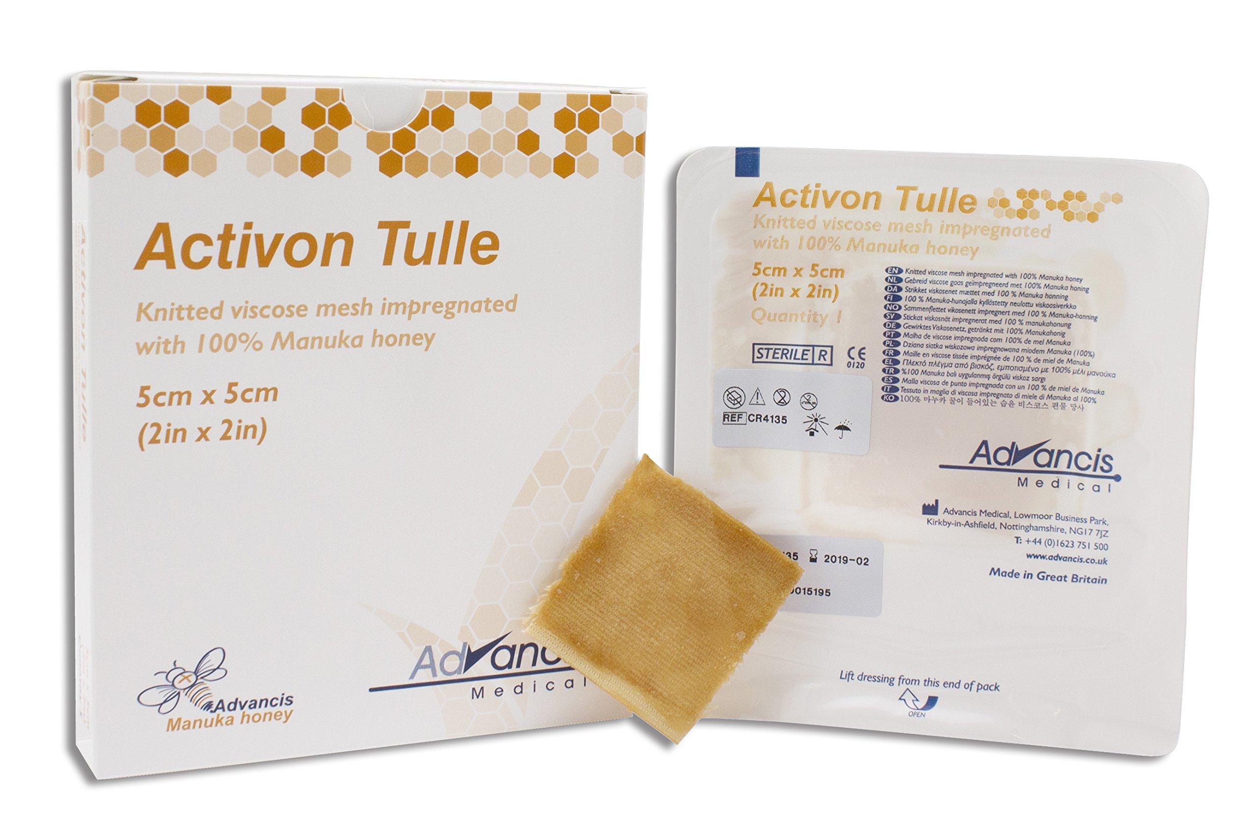 Dukal CR4135 Manuka Honey Activon Tulle, Sterile, 2'' W x 2'' L (Pack of 5)