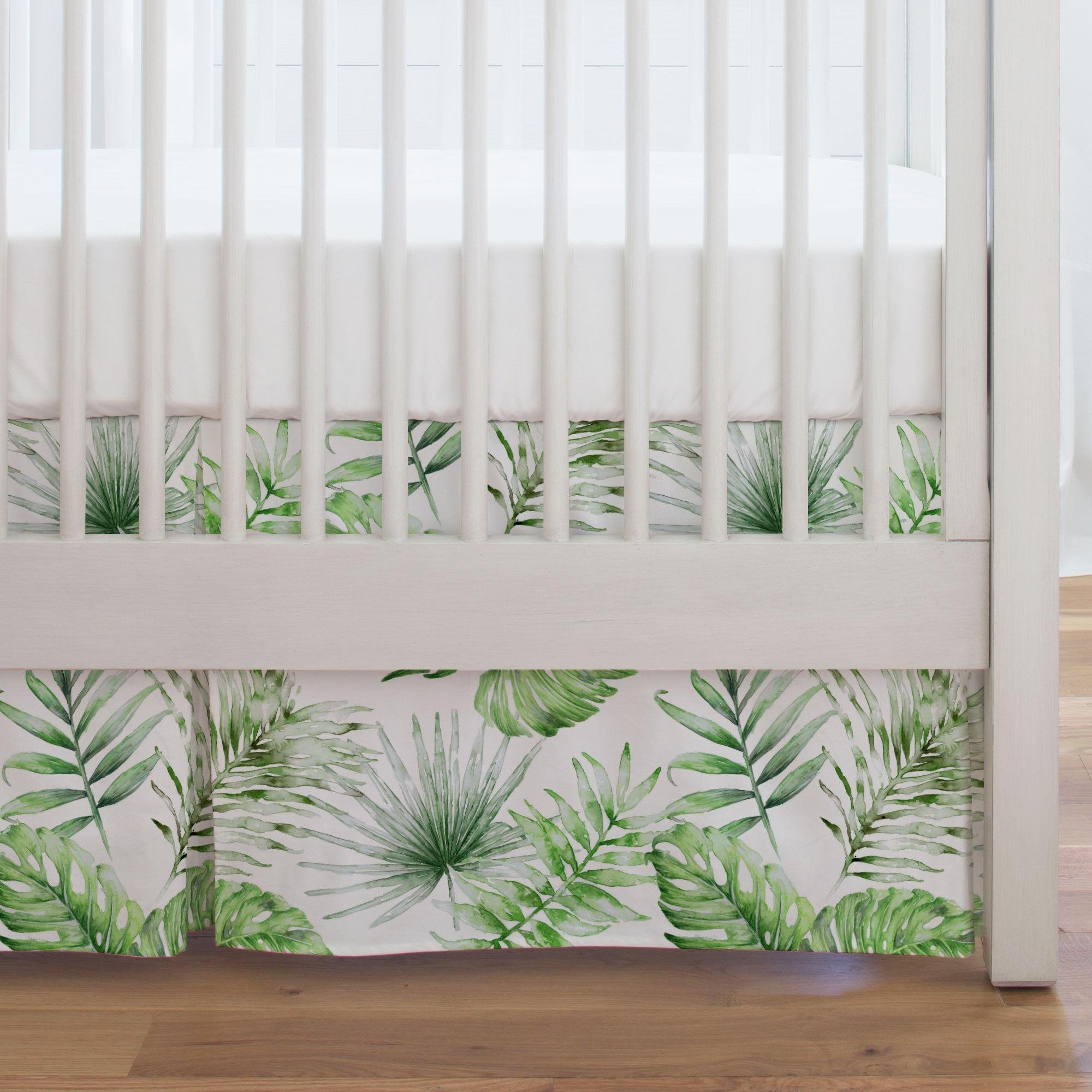 Carousel Designs Green Painted Tropical Crib Skirt Single-Pleat 17-Inch Length - Organic 100% Cotton Crib Skirt - Made in The USA by Carousel Designs