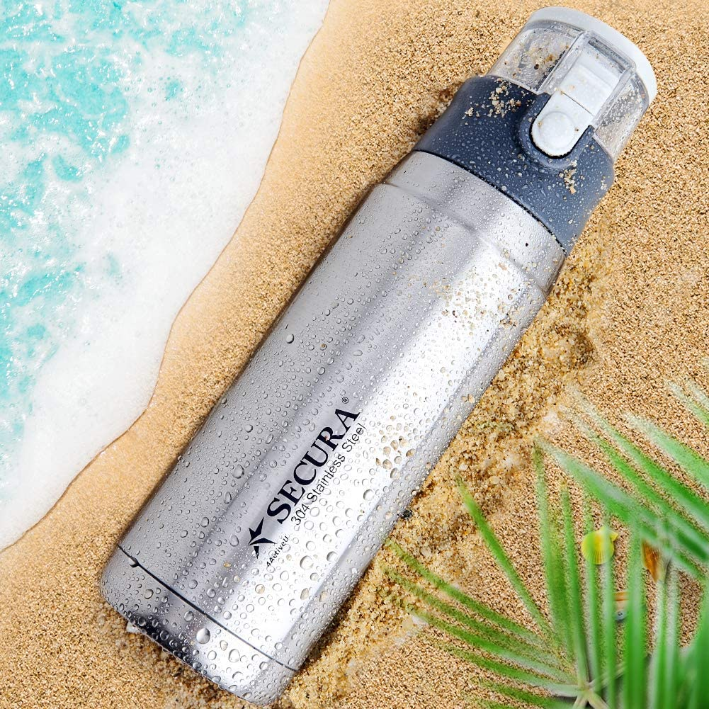 Secura Vacuum Insulated 304 Stainless Steel Water Bottle with Handle, 22 Ounce, Silver
