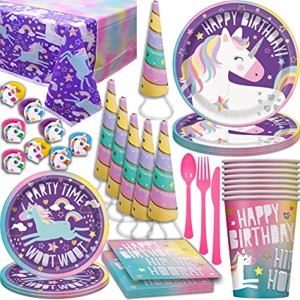 Unicorn Birthday Party Supplies for 16. Large and Small plates, Cups, napkins, Tablecloth, Cutlery, Rainbow Sparkle Horn Hat, Rubber Rings. Disposable ...