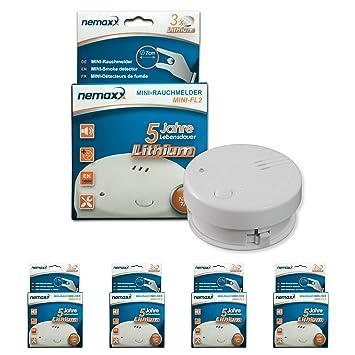4X Detector de Humo Nemaxx Mini-FL2 Mini Detector de Fuego y Humo Detector con batería de Litio de Acuerdo con la Norma DIN EN 14604: Amazon.es: Bricolaje y ...