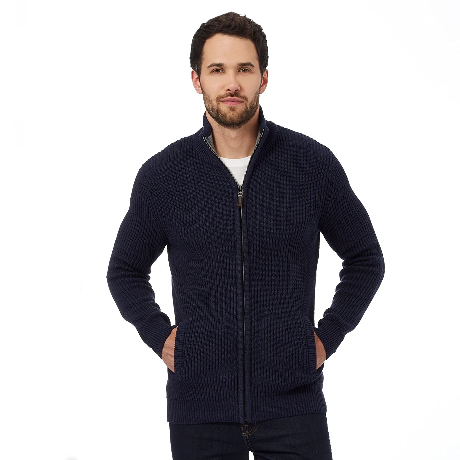 Maine New England Mens Navy Ribbed Zip-Through Cardigan