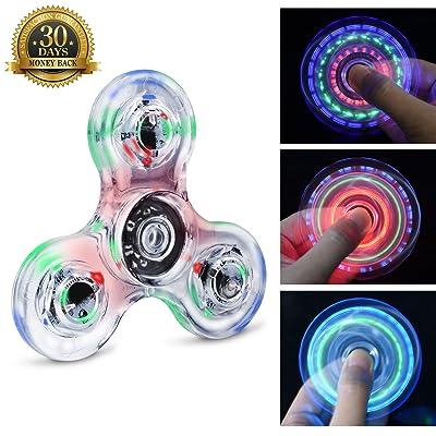 Fidget Hand Spinner Quimat Éclairage LED Jouet de Dextérité 216 Modes d'Éclairage Parfait pour enfants et adultes Aide à lutter contre l'Ennui et le Stress et favorise la Concent
