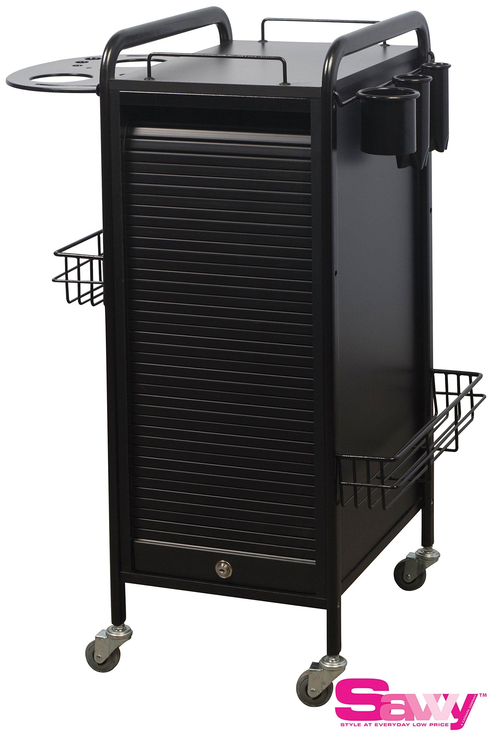 Savvy SAV-505-BB Salon Lockable Roller Cart Trolley in BLACK +Free SAV-560 Option ($65 value) + FREE Cape