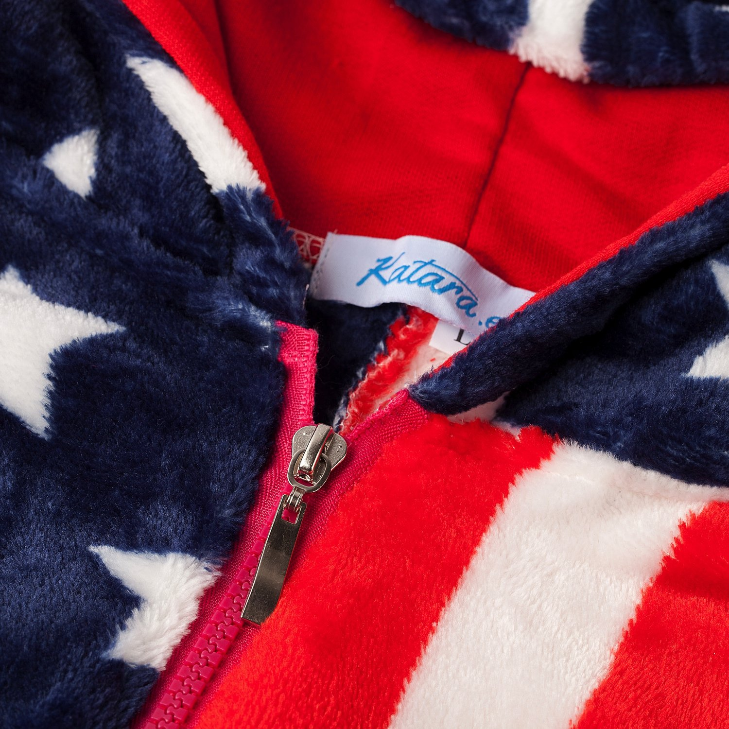 Loungewear Plush Onesie Height 145-155cm Fluffy Hooded Overall Pyjama For Adults S Slumber Party Unisex Costume With American Flag Print Stars And Stripes Katara 1844-001 Fleecy USA Jumpsuit