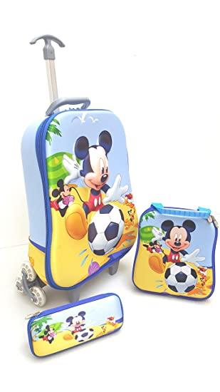 Kids Mickey Mouse 3D 3 Piece Luggage Trolley Wheel Set Cabin ...