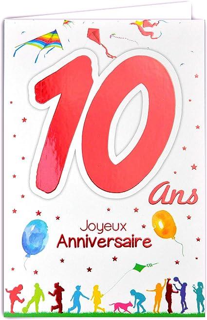 Afie 69 2110 Carte Joyeux Anniversaire 10 Ans Enfant Garcon Fille Gteau 10 Bougies Cadeaux Amazon Fr Fournitures De Bureau