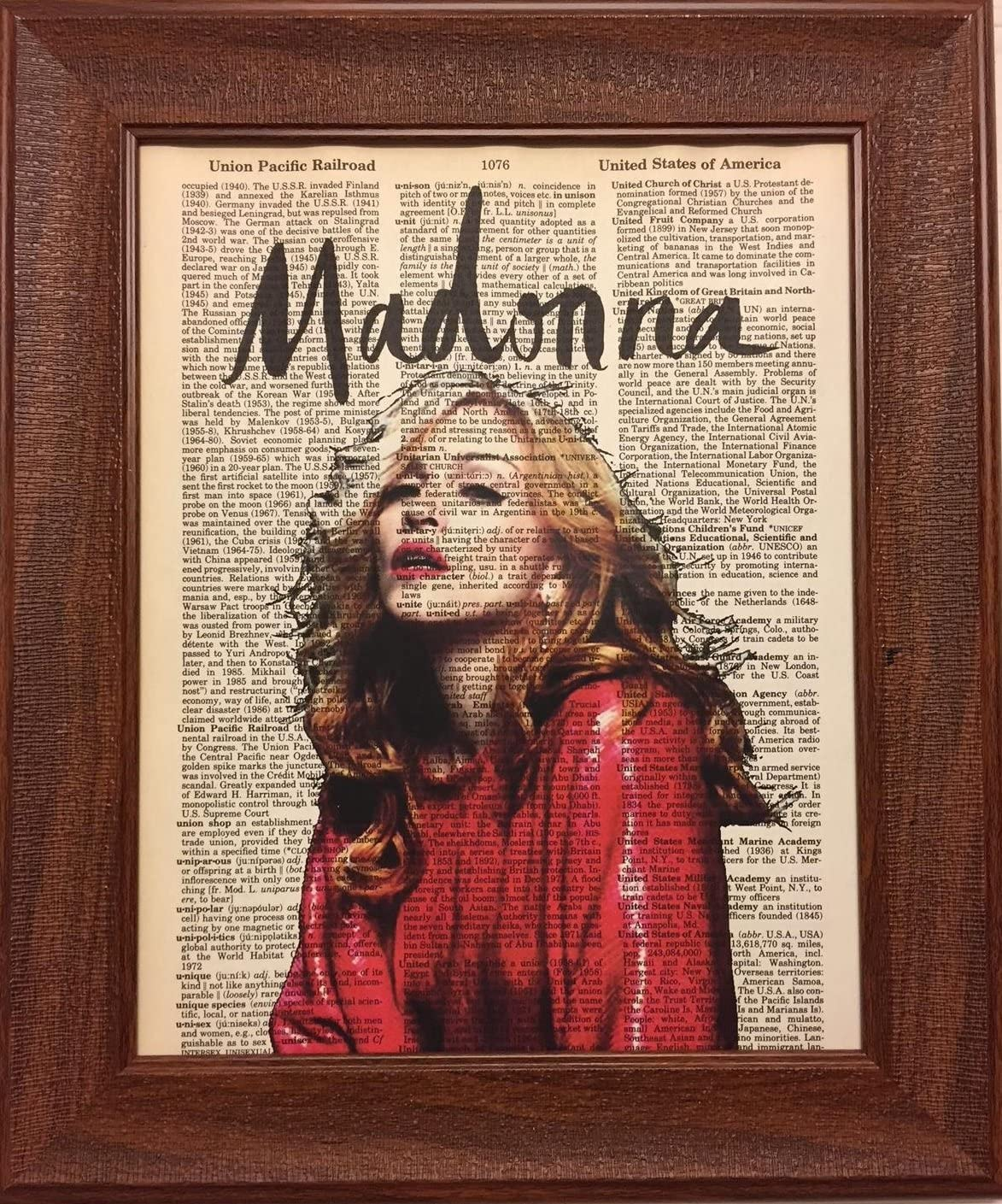 Madonna Dictionary Art Print Black and White Vintage Poster Picture Musician