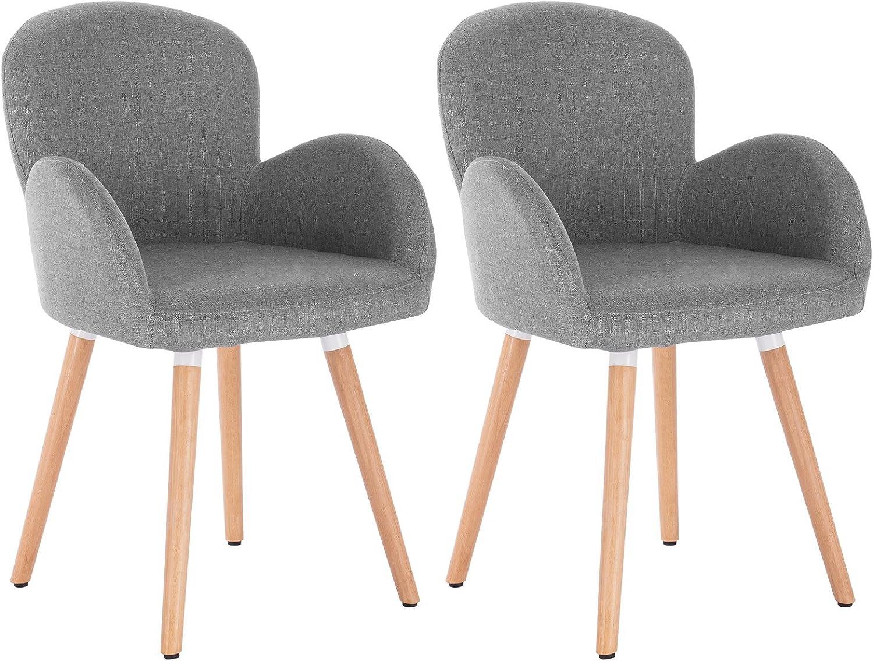 WOLTU 2 x Esszimmerstühle 2er Set Esszimmerstuhl Küchenstuhl Polsterstuhl Design Stuhl mit Armlehne, mit Sitzfläche aus Leinen, Gestell aus