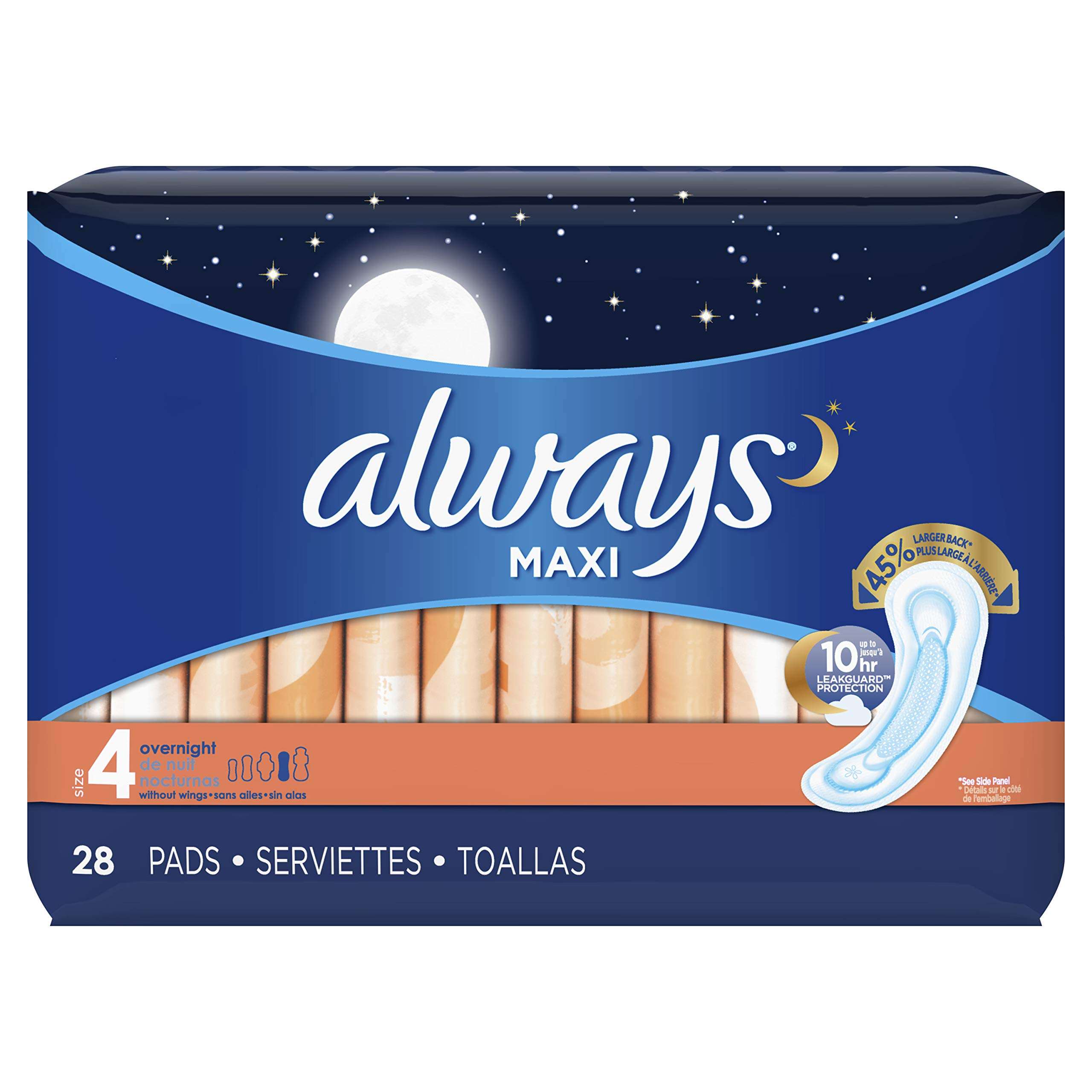 Always Maxi Unscented Pads without Wings, Overnight, 28 Count (Pack of 3)