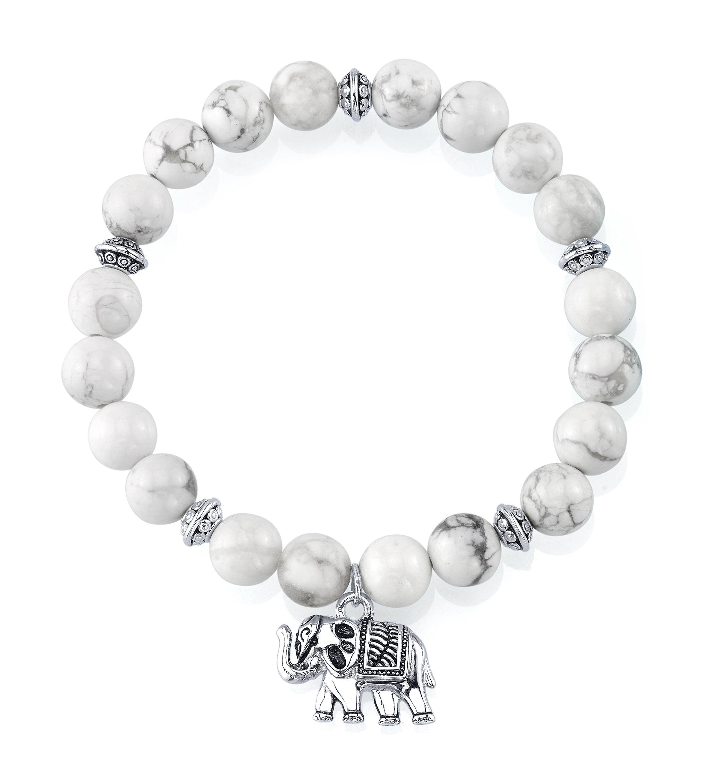 SERAFINA Womens Bead Stretch Bracelet Sterling Silver Charm (howlite)