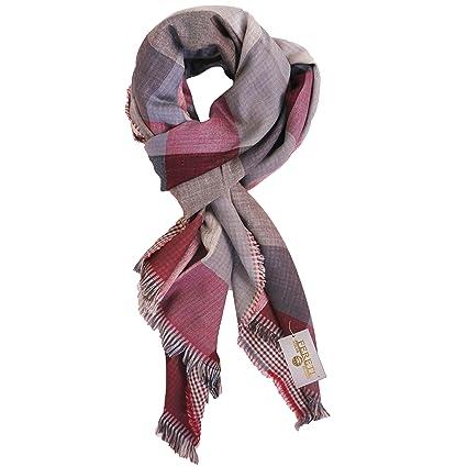 FERETI Echarpe de soie pour homme Rouge fonce très douce e chaude Tissu  double 4 en 2506a87554f